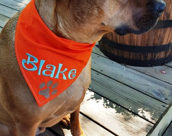 Tie on personalized Dog bandana with Paw Print - Custom Embroidered Dog accessory - Name and paw print - Dog Lover Gift