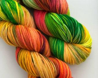 Amazon Hand Dyed Yarn Superwash Merino Light Worsted Double Knit Weight Greens Orange Pink