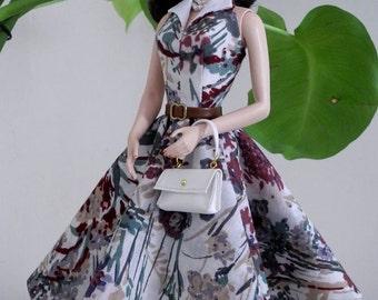 vintage turndown collar dress for Silkstone Barbie by SL Doll Fashion
