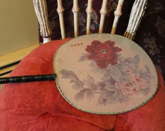 Vintage Asian Fan, Asian Silk Fan with Bamboo Handle, Oriental Fan with Red and Pink Flowers, Round Paddle Fan, Peonies on Japanese Fan