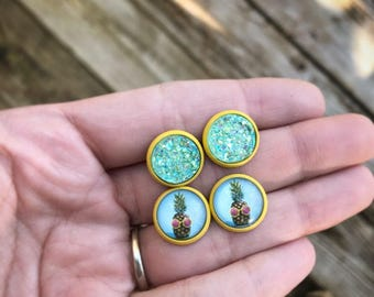 Yellow/Seafoam Blue Pineapple & Druzy Stud Combo.