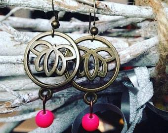 Bronze earrings - Pearl and rose