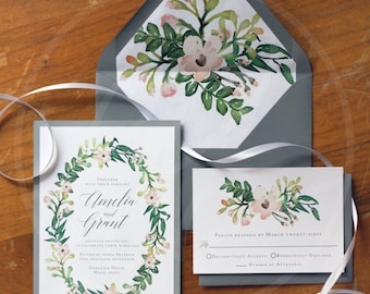 Watercolor Floral Wedding Invitations (50 Invitation Suites)