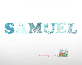 Applied seconds personalized name of 6 letters (SAMUEL, e.g. proposed) Liberty Blue and turquoise.