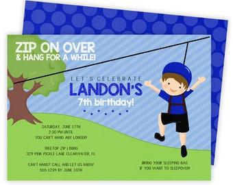 Zip line party etsy zip line invitation zip line party zipline birthday invitations zip line invite stopboris Gallery