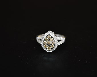 White gold pave champagne diamond ring