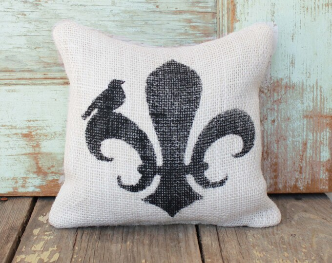 Fleur de Lis  -  Burlap Feed Sack Doorstop - French Country Door Stop