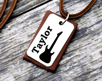 Personalized Musician Necklace, Personalized Jewelry, Name Necklace, Guitar Necklace, Birthday Gift, Husband Gift, Music Gift, Musician Gift