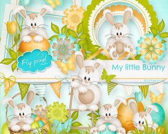 My Little Bunny - Digital Scrapbook Elements - Clipart F025 - Instant Download