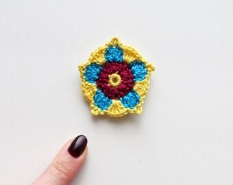 Crochet Mandala, Small Tiny Crochet Mandala Applique, Crochet Flower, Turquoise, Yellow, Bordo, Handmade Crochet Folk Motif