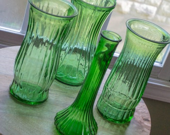 Vintage Green Glass Vases, set of 4