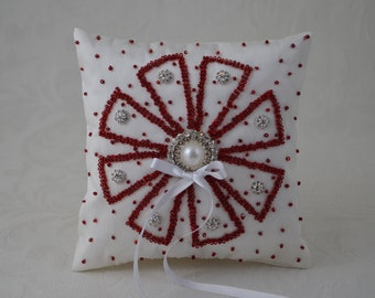 Ring Pillow, White And Red Ring Bearer Pillow, Wedding Pillow, Beads Pearl Rhinestone Accent Ring Pillow.