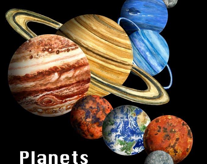 Featured listing image: Planets Solar System Hand Painted Clip Art