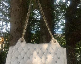 White CC diamanté embellished flap bag