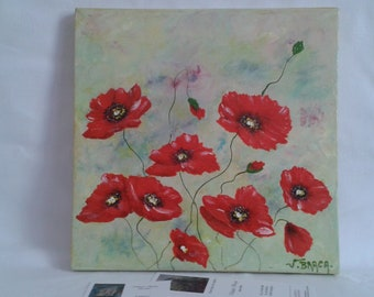 Painting poppy painting, acrylic on canvas painting poppies flower mural, floral, flowers, poppies, decor