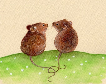 Mice in Love, Art print from and original watercolor painting