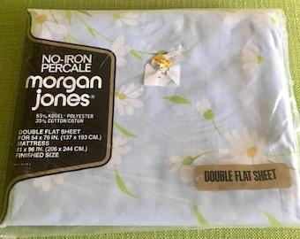 Vintage 70s Morgan Jones Double Flat Sheet Dainty Daisies Light Blue Sheet New in Package