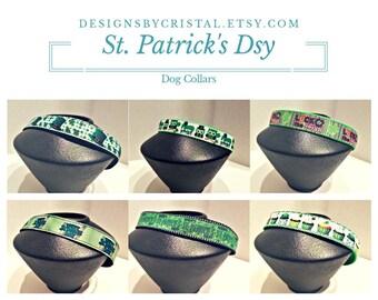 Dog collar - Saint Patricks Day - Cupcake Dog Collar, Owls Dog Collar, Green Dog Collar, Saint Patricks Day Decor,  Green Clover Dog Collar