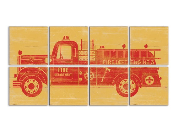 Firetruck Decor Fire Truck Wall Art Vintage Fire Truck