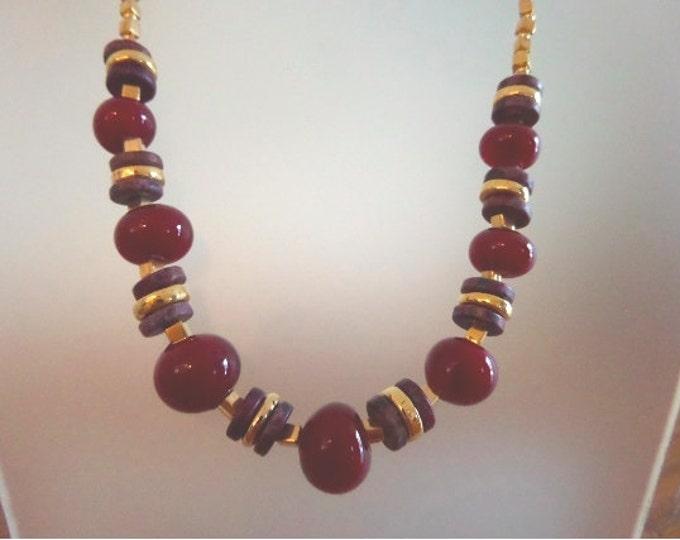 Bing Cherry Lamp Work Bead Necklace
