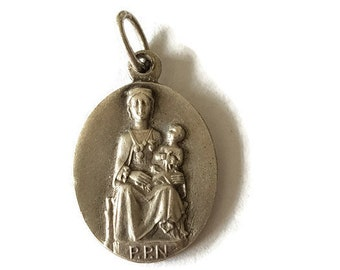 vintage silver plated Our Lady of Sarrance medal, Christian pendant, religious jewelry