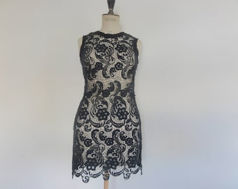 Vintage 90s black crochet lace mini dress size xs