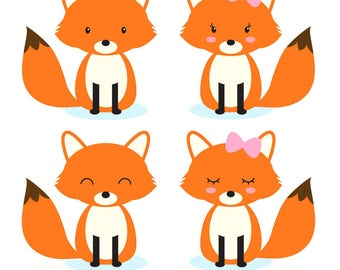 Fox clipart, woodland animals clipart, forest animals clipart, Commercial Use Clip Art, 4 PNG Images, Instant Download