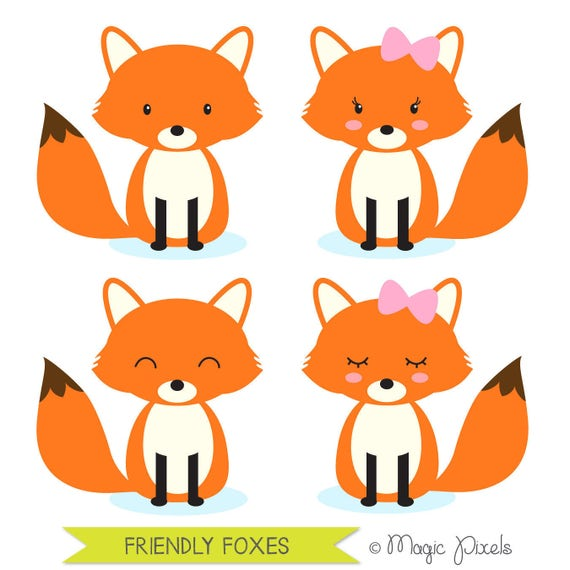 fox clipart woodland animals clipart forest animals clipart rh etsy com fox clipart images fox clip art for kids