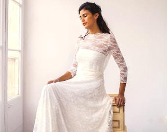Vintage wedding dress, wedding dress, lace wedding dress, romantic bridal gown, vintage style wedding dress, long sleeve lace wedding dress