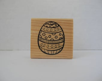 Easter Egg Stamp - Easter Stamp - Wood Mounted Rubber Stamp