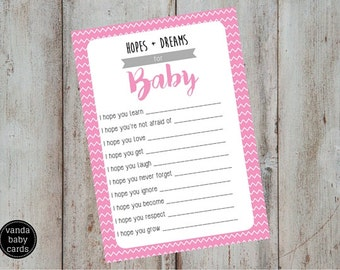 Baby Shower Printable | Pink Chevron Baby Shower Games | Instant Download Digital File PDF | Wishes, Dreams + Hopes for Baby | Baby Girl PZZ