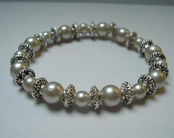 Silver Sparkle Beaded Stretch Bracelet