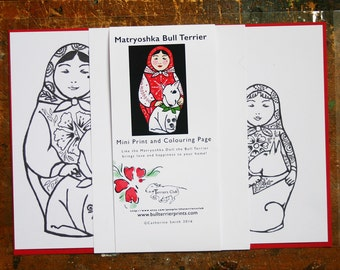 Colouring Page and Mini Print - Matryoshka and Dog - Bull Terrier - Russian Doll
