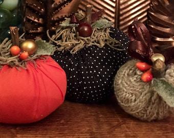 Set of 3 Tiny Fabric & Sweater Pumpkins