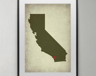 California map, California wall art, Black White, Modern, Design poster, USA, Instant Download, Art Print, Home decor.