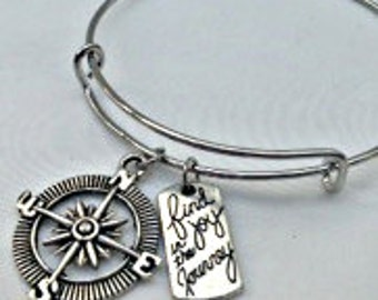Find Joy in the Journey compass Silver charm Bracelet Inspired by bangle, traveling, globe trotting, explore the world around