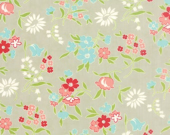 Vintage Picnic Floral Playful Gray Fabric by Bonnie and Camille for Moda Fabrics