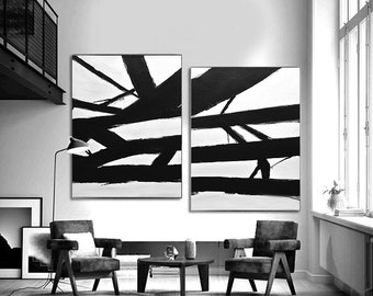 2 Piece Large Original Abstract Painting Modern Minimalist Art Black and White Diptych Painting SET OF TWO Framed Art Franz Kline Inspired