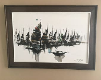 Original Signed and Dated Mid Century Modern Oil Painting