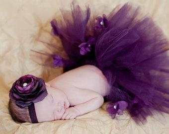 Newborn Baby Girl Photo Prop Sewn Dark Purple Plum Embellished Tulle Tutu with Ribbon bow - Includes purple silk flower headband NB-12m