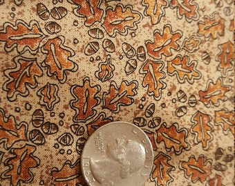 Tan background with leaves and acorns fat quarter