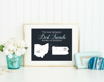 Best Friend Gift - Long Distance Best Friend Gift - Going Away Gift for Friend - Friendship Gift - BFF Gift - Map Art - Best Friend Print