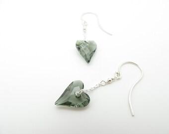Handmade Grey Swarovski Heart Drop Earrings in Sterling Silver