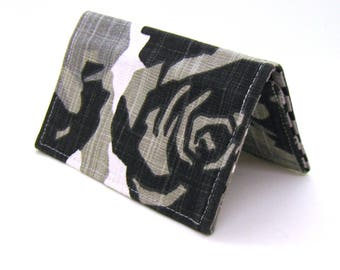 Mini Wallet / Card Holder / Business Card Holder / Card Case / Gift Card Holder/ Small Wallet - Black Gray Geometric Floral