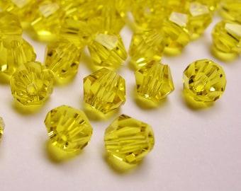 Crystal 4mm Bicone 100 pcs AA quality --sparkle vivid yellow