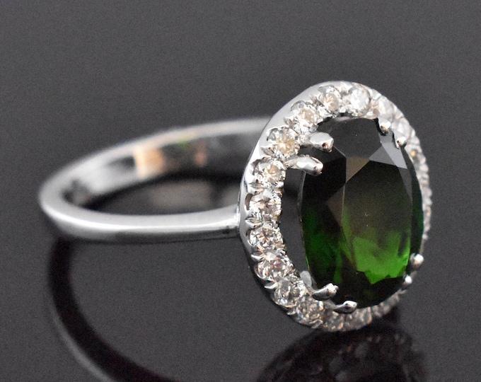 18K White Gold Green Tourmaline and Diamond Ring | Engagement Ring | Wedding Ring | Statement Ring | Diamond Halo | Handmade Fine Jewelry