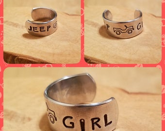 JEEP GIRL 1/2 inch width hand stamped and polished adjustable size aluminum thumb ring OIIIIIIIO