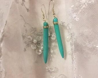 Turquoise and Silver wrapped Dangle Earrings