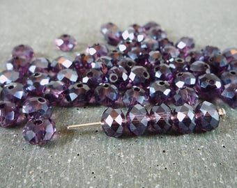 20 faceted beads, Abacus Amethyst, 6x8mm (pv222)