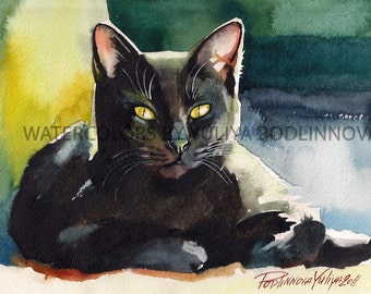 Black Cat Digital Print of my Original Watercolor Painting. Black Cat Instant Download Art. Wall Decor Cat Picture by Yuliya Podlinnova.